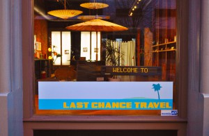 The Last Chance Travel storefront was located in a former high-end jeans store in downtown Seattle, WA.